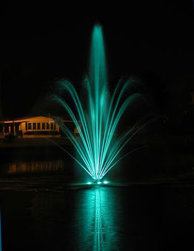 Foxwood Lake Estates Fountain at Night Lakeland FL